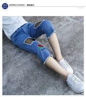 2017 Summer Children Girls Jeans Baby Pants For Girl 2 12 Years Kids Calf Length Blue