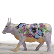 flowers Ceramic creative cow Bull home decor crafts room decoration handicraft Cattle porcelain wedding figurine
