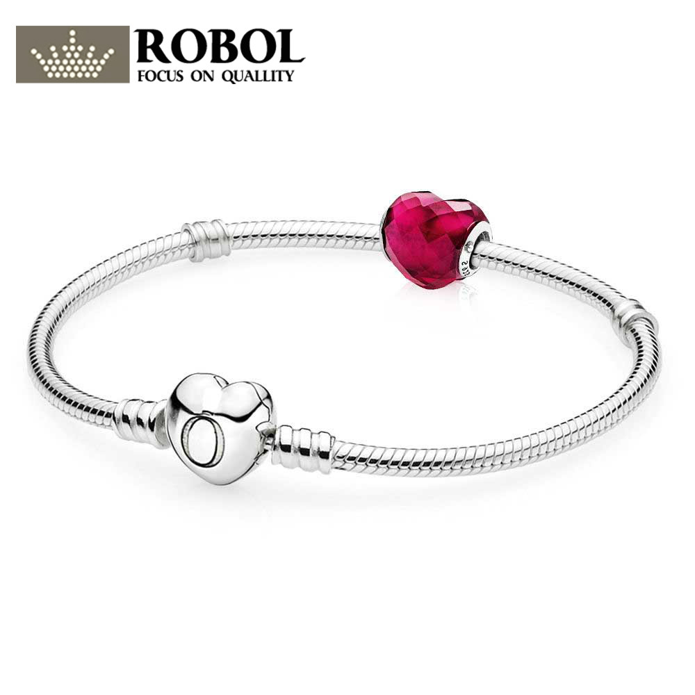 ROBOL 925 Sterling Silver Shape of Love Bracelet Gift Set Read more fit DIY Original charm Bracelets jewelry A set of prices