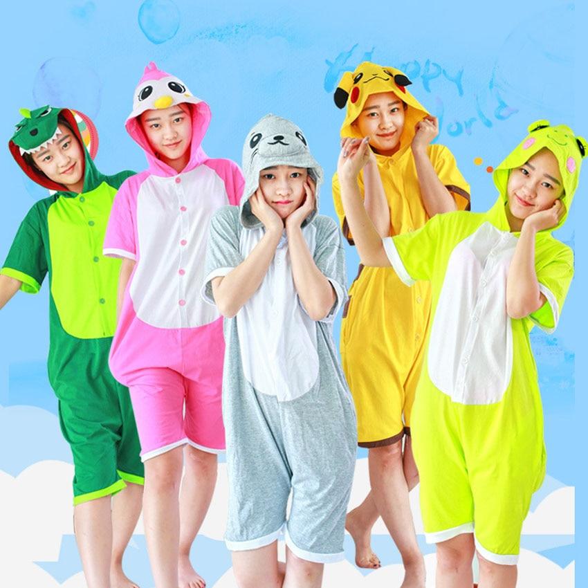 Summer Kigurumi Unicorn Onesie Women Cotton Romper Hooded Kigurumi Unicornio ...