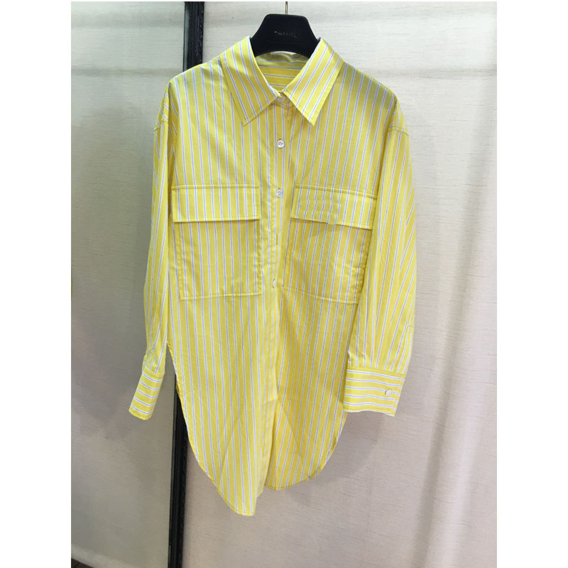 Embroidery letters stripes long shirts yellow shirts women s casual shirts