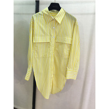 Embroidery letters, stripes, long shirts, yellow womens casual shirts.