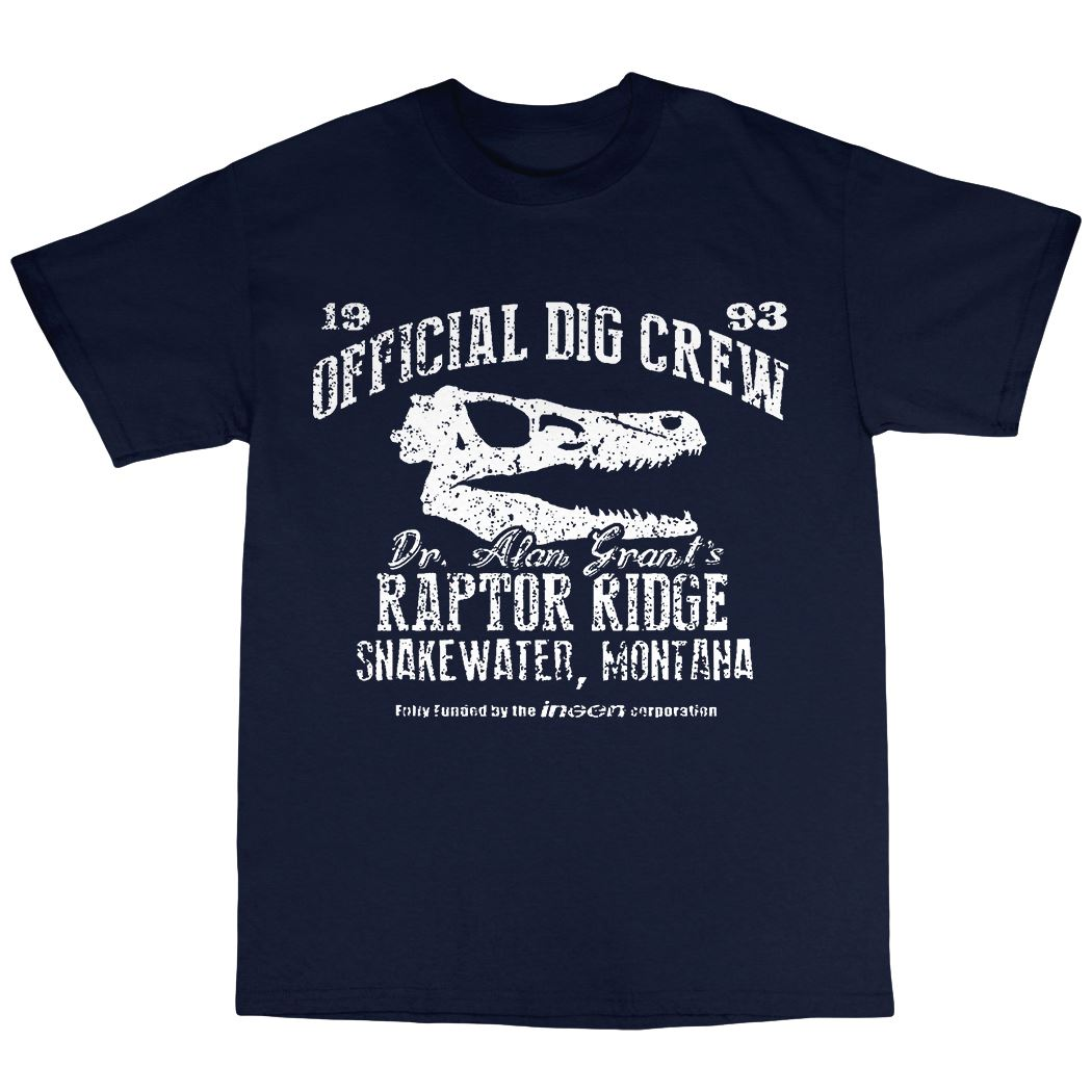 Dr. Alan Grants Raptor Ridge T-Shirt 100% Cotton Dinosaur Official Dig Crew