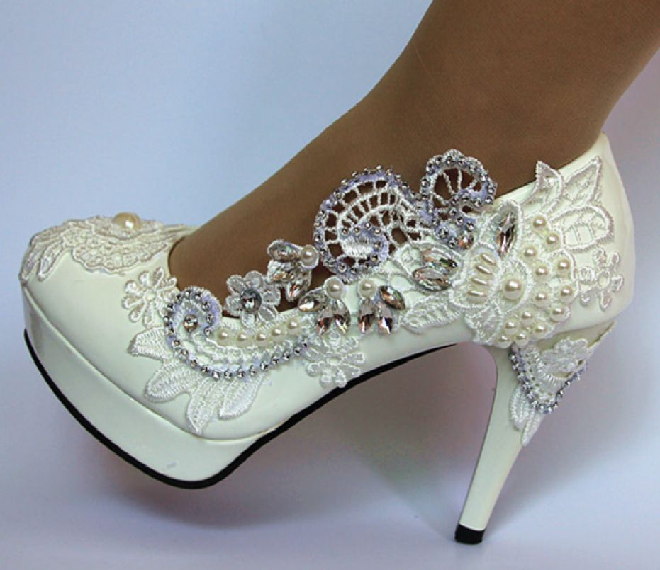 11 cm tacones súper altos plataformas marfil cordones boda zapatos mujer lujo hecho a mano europeo caliente moda HS039 novias boda zapato-in Zapatos de tacón de mujer from zapatos    1