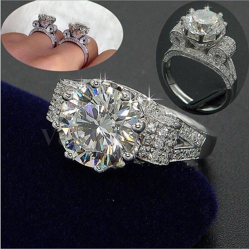 Vecalon Luxe Bijoux Femmes Hommes bague 9mm 3ct AAAAA zircon Cz 925 Sterling Argent Couple Fiançailles Bande de mariage bague Cadeau