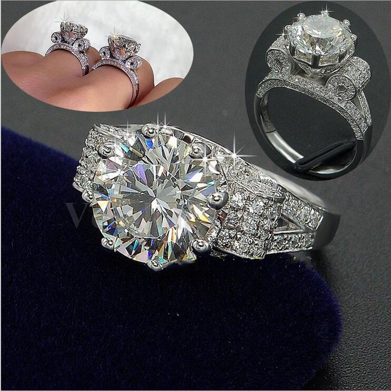 diamond cz 925 sterling silver couple engagement wedding band ring