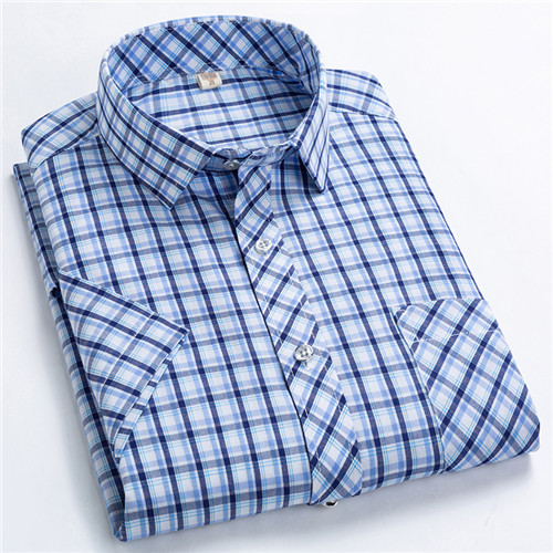 Checkered shirts for men Summer short sleeved leisure slim fit Plaid Shirt square collar soft causal male tops with front pocket 13