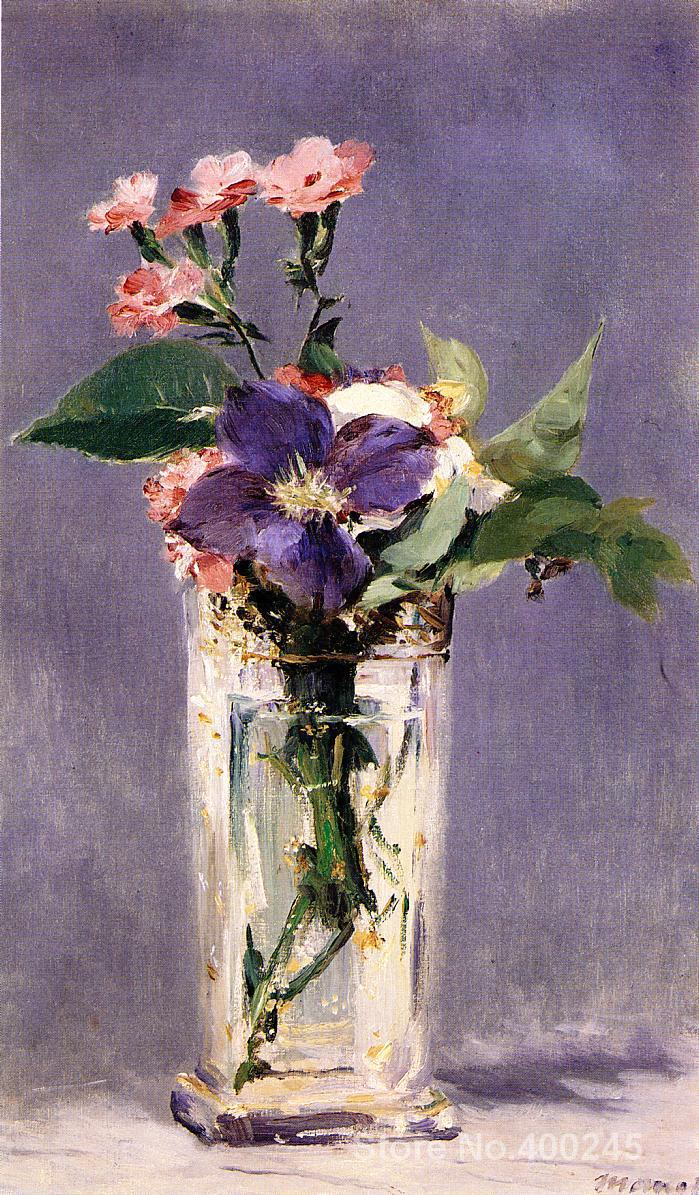 Pinks and Clematis in a Crystal Vase Paintings by Edouard Manet Portrait art High quality Hand painted
