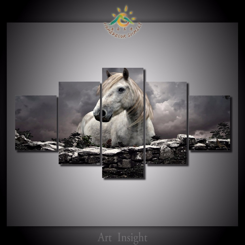 5 Pieces/set Printed Horse in The Sunset Painting On Canvas Room Decoration Print Poster Picture Canvas Painting