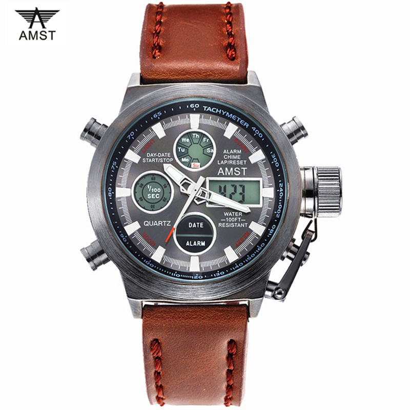 2018 New AMST Watches Men Luxury Brand 5ATM 50m Dive LED Digital Analog Quartz Watches Male Fashion Sport Military Wristwatches