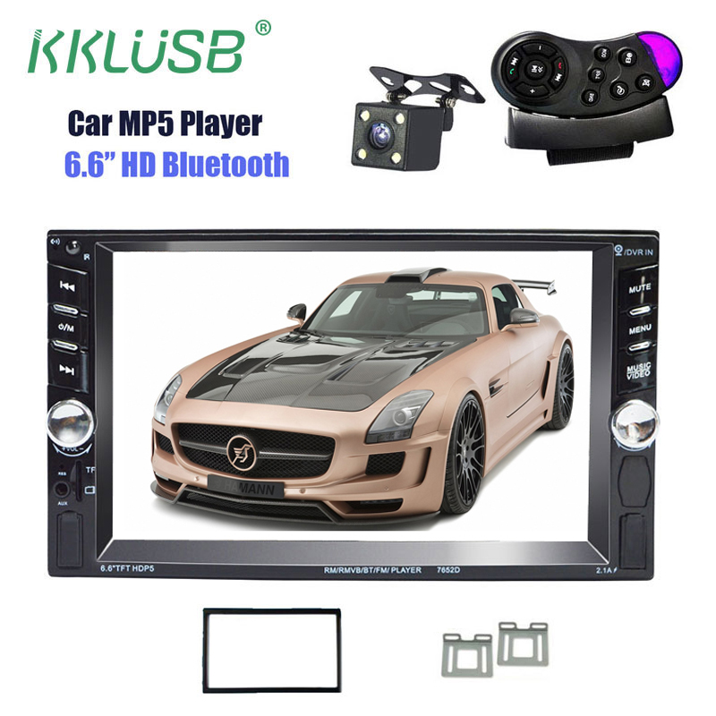 2 Din 6.6'' inch LCD Touch Screen 12v Autoradio Car Audio Auto Radio Player Bluetooth Support Rear view camera With Frame Stand lp116wh2 m116nwr1 ltn116at02 n116bge lb1 b116xw03 v 0 n116bge l41 n116bge lb1 ltn116at04 claa116wa03a b116xw01slim lcd