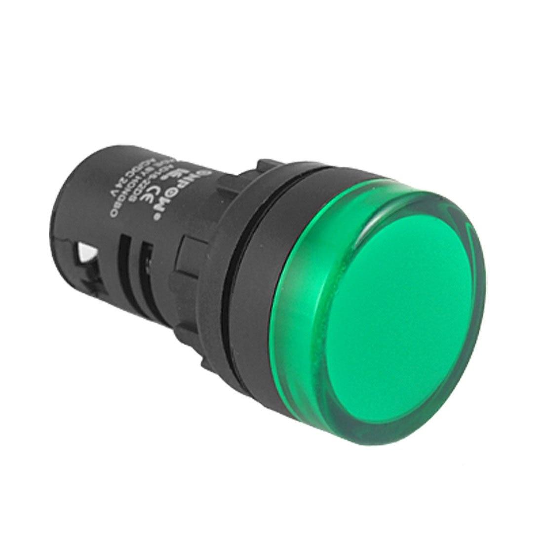 THGS Panel Mount Green Pilot Light Signal Indicator Lamp AC DC 24V ...