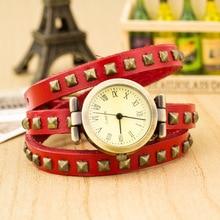 Misplaced Cash Sale Real Cow Leather-based Punk Type Wrape Watch Ladies Vogue Bracelet Quartz Watch kow004
