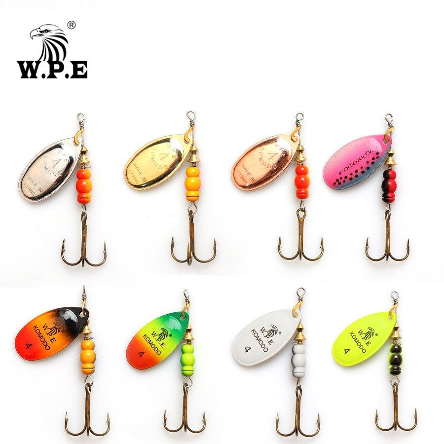 W.P.E Brand 1pcs Spinner Lure 6.5g/9.7g/13.4g Bass Fishing Bait Metal Spoon Lure Treble Hook Fishing Tackle Hard Lure CrankBaits