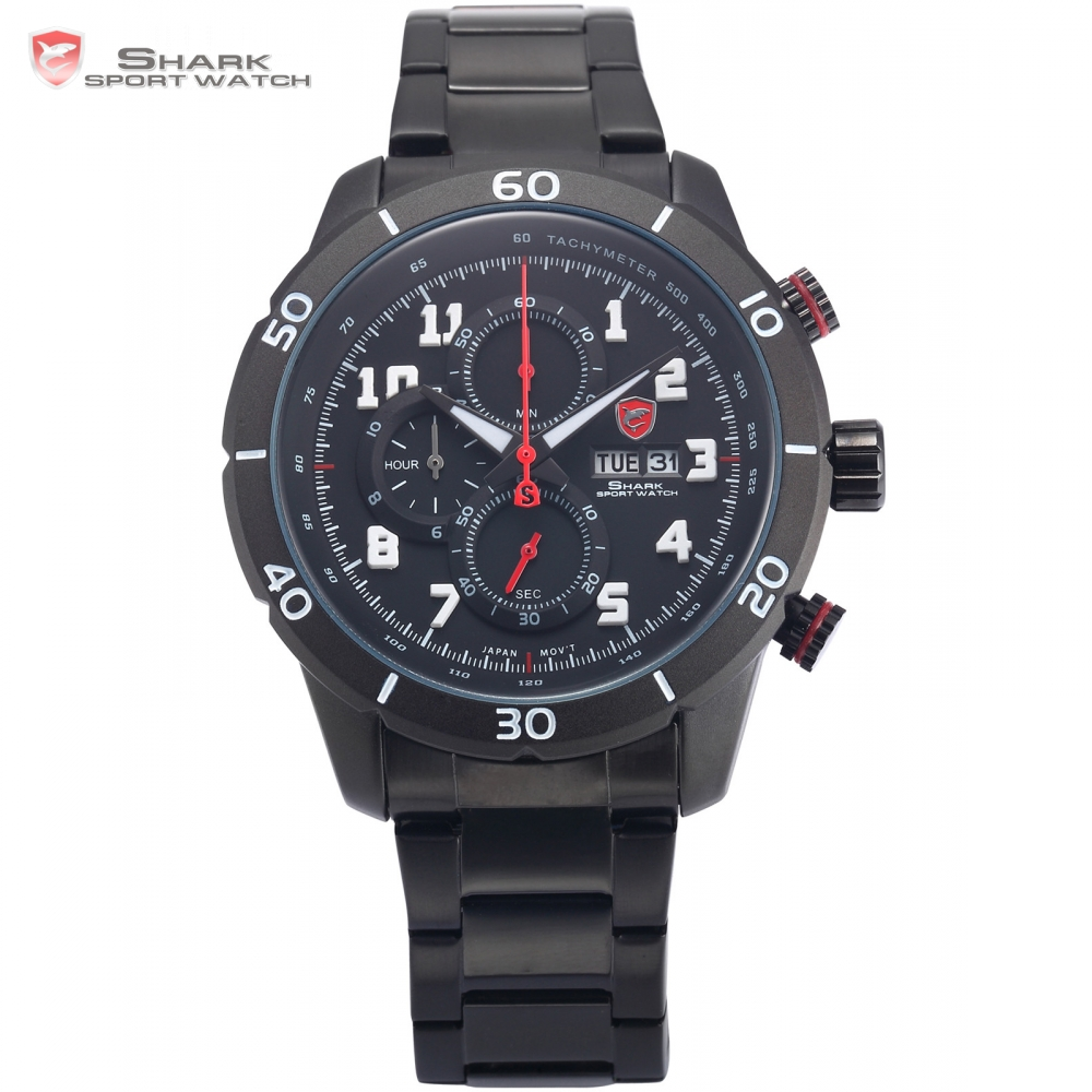 Gummy Shark Sport Watch Mens Full Black Date Day Calendar Stopwatch Quartz Steel Band Water Resistant Relogio Masculino / SH310 mens watch army sport analog day date quartz calendar pilot stylish male chronograph aviator relogio masculino