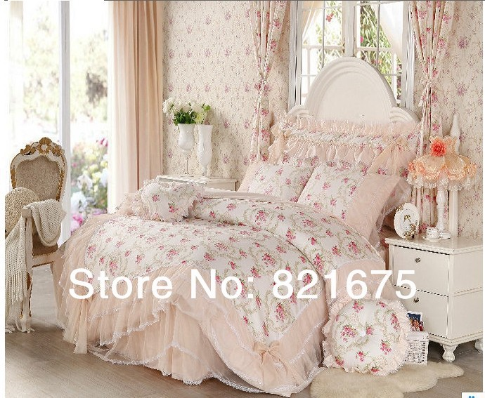 korean bedding set ruffle duvet cover princess bedding set queen size king size bed skirt full. Black Bedroom Furniture Sets. Home Design Ideas