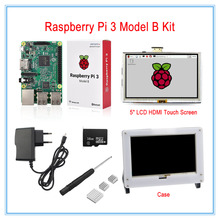 Cheaper Raspberry Pi 3 Model B Board Kit with 5inch LCD HDMI Touch Screen+16GB Micro SD Card +5V2.5A Power Supply+ Heatsinks+Case(White)