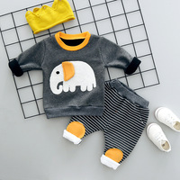 Newborn Baby Boys Girls Clothing Sets 2018 Winter Pullover Cartoon Coats Striped Pants 2pcs Sets Cotton
