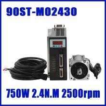 Высокое качество 90ST-M02430 AC сервомотор 750 Вт 2.4N.M 24kgf. См 3000 об./мин. AC сервомотор и водитель с кабель