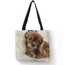 Уникальная модная сумка-тоут с принтом собаки Шарля спаниеля, сумки для женщин, дамская сумка на плечо, прочные сумки для покупок, большая ВМЕСТИТЕЛЬНОСТЬ