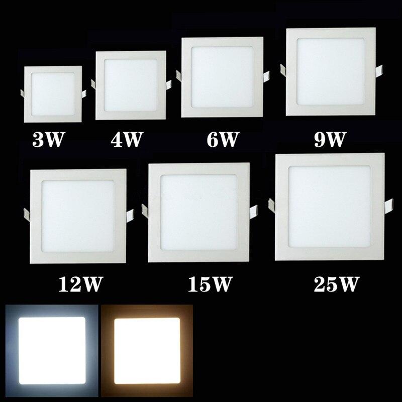 Diseño Ultra brillante 3 W/6 W/9 W/12 W/15 W/25 W LED techo Ultra delgado empotrado rejilla Panel ligero/Delgado cuadrado panel de luz
