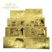 8 sztuk/partia nowe produkty dla niemiec złote banknoty 5 10 20 50 100 200 500 1000 Mark banknot w 24k Gold For Value Collection