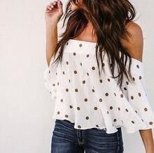 Summer Fashion Polk Dot Pattern Printed Shirts Sexy Slash Neck Off Shoulders Tops Casual Blusas WS8271U