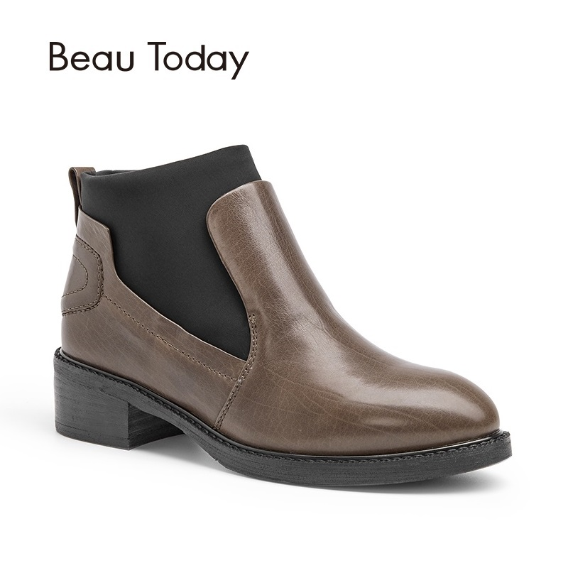 BeauToday Genuine Leather Women Chelsea Boots Spring Autumn Elastic Band Calf Leather Ankle Boots Ladies 03104 elastic band women genuine leather ankle boots chelsea hand made shoes motorcycle coincise fashion black matte women s boots