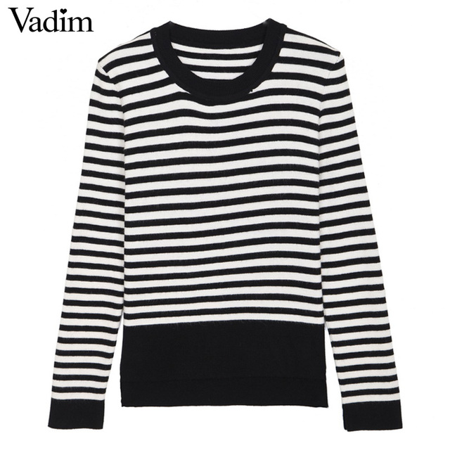 Women Black White Striped Sweaters At Leisure Wear O Neck Long