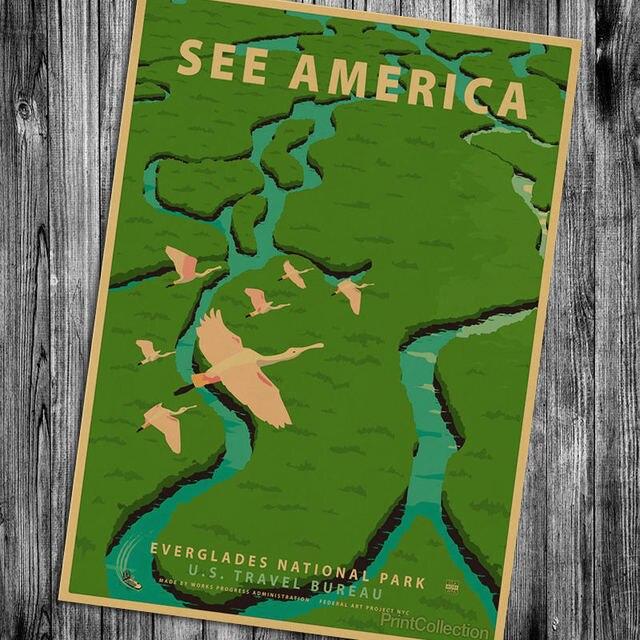 Central Park Vintage Poster Wall Sticker Wallpaper Art Cafe Bar