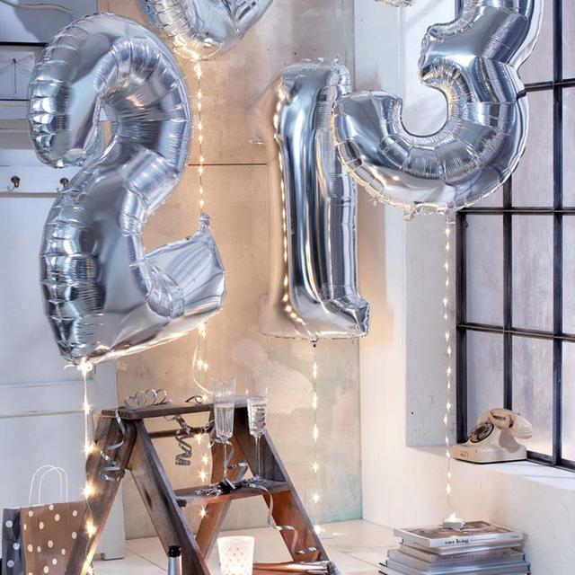 Rysunek balon folia 40 cali roku Helium Ballon Number Happy 18 urodziny Ball Air balon party dekoracje baloons Globos tanie i dobre opinie Trwała niespodzianka Piłkę #566 Folia aluminiowa 1 szt Numer Rocznica nowy rok przyjęcie urodzinowe Złoty Sliver