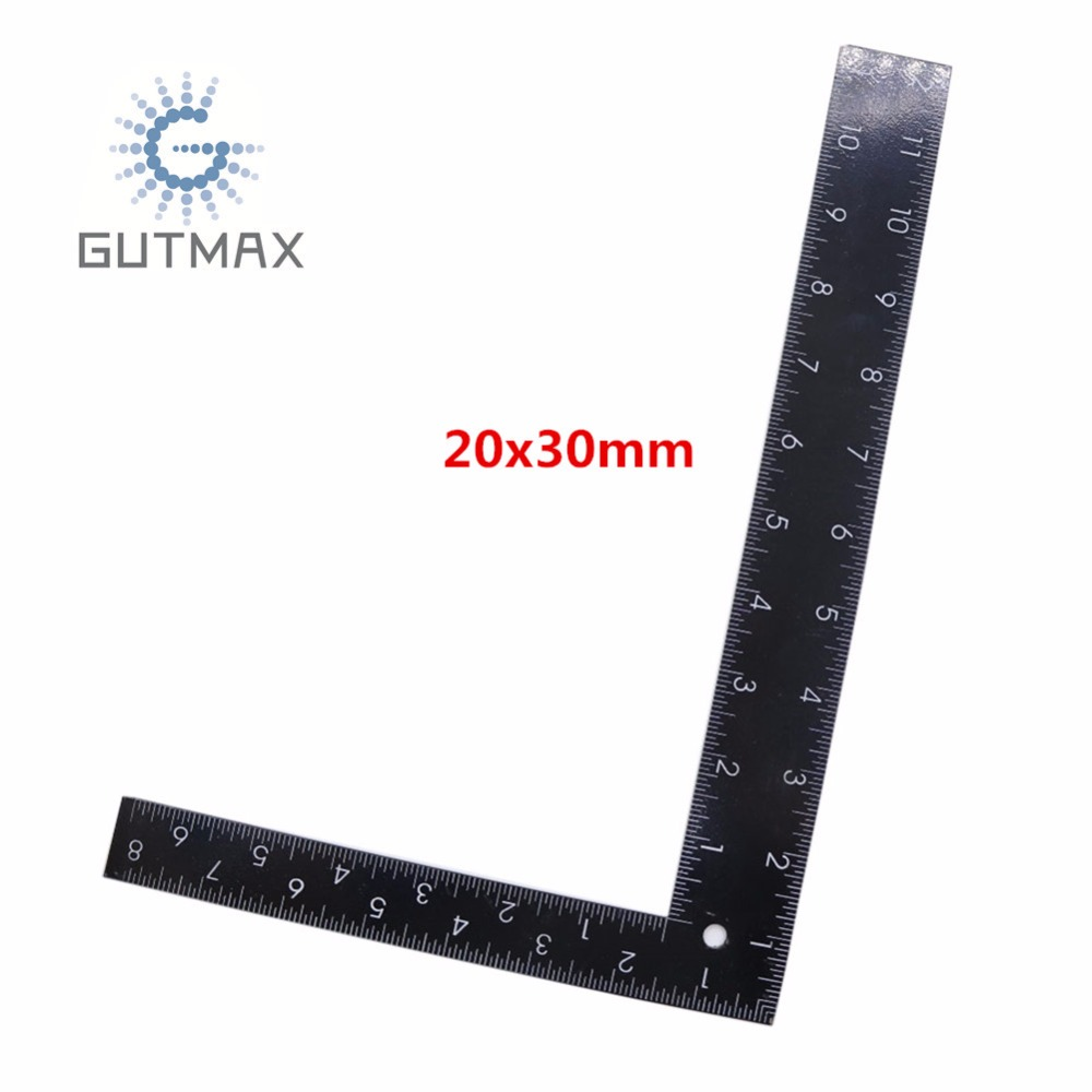 Black Right Angle Ruler L Type 90 Degree Positioning Measurement Tools 20x30cm Inch And cm Scale Woodworking Carpenter Tool HY73 marking tools