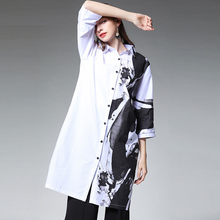 Plus size womenns casual loose blouse fashion Chinese ink painting shirts Mid sleeve Elegant long shirt Spring new Large size plus size cold shoulder ink painting blouse