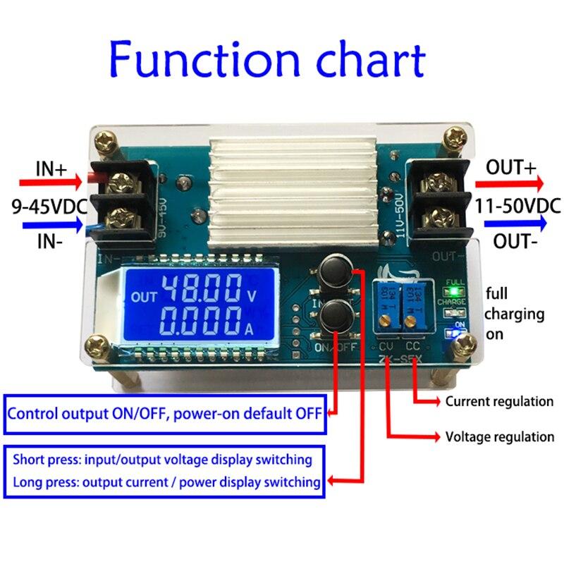 5 pcs/lot Boost Constant Tension Courant Constant Alimentation Module 11-50 v DC Batterie De Charge avec Écran lcd s5X