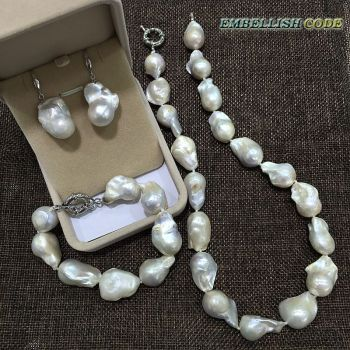 necklace bracelet hook earrings set large size baroque or Irregular white nucleated flameball shape Freshwater pearl Special