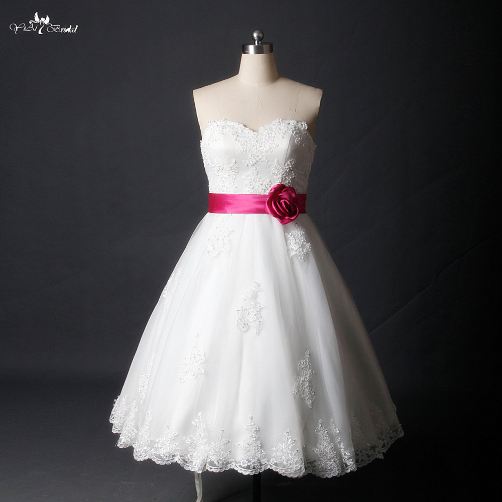 RSW785 Hot Sale Sweetheart Knee Length Short White Wedding Dress With Plum Sash
