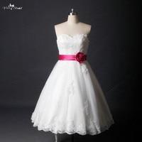 Rsw785 Лидер продаж Милая по колено короткое белое свадебное платье с сливы пояс кушак