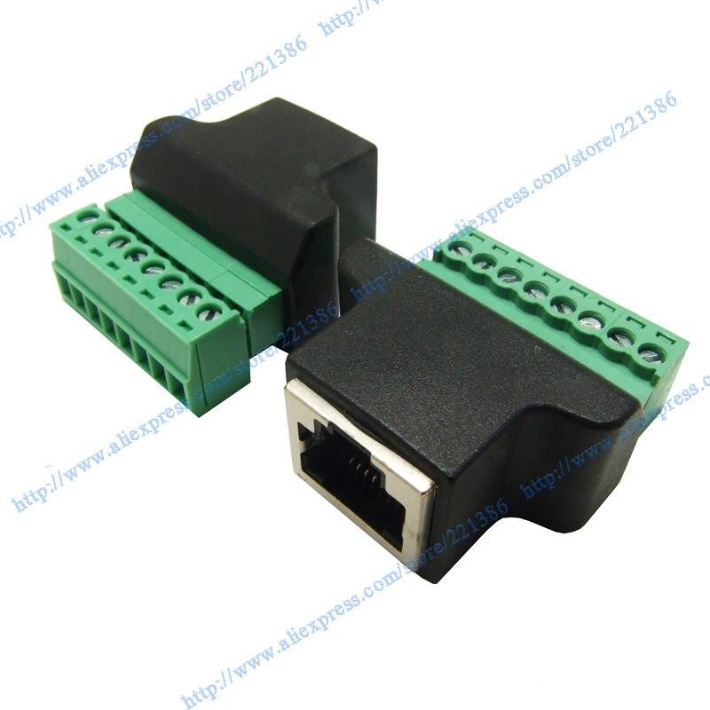 1pcs free shipping rj45 to screw terminal adaptor rj45 female to 8 rh aliexpress com RJ45 Wiring Color Code RJ45 Jack Wiring