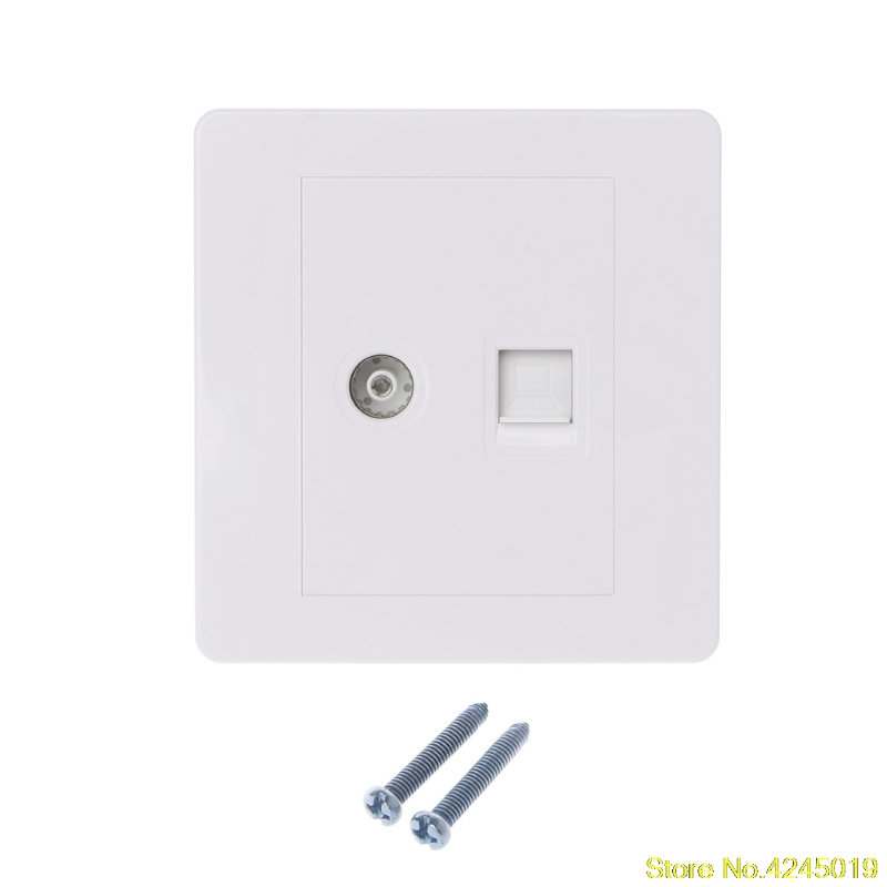 High quality RJ45 Network Adapter+TV Antenna Coaxial Wall Mount Output Faceplate Panel Socket New