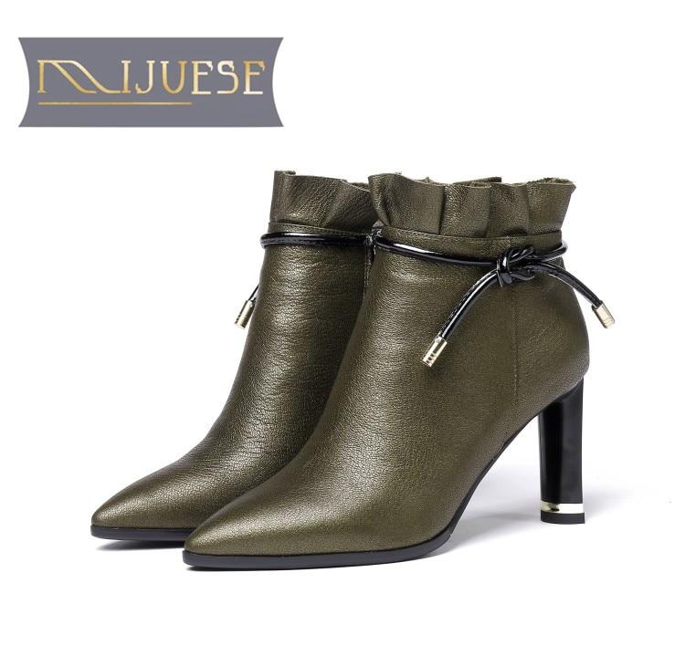 MLJUESE 2019 women Mid calf boots cow leather khaki color zippers winter short plush women boots