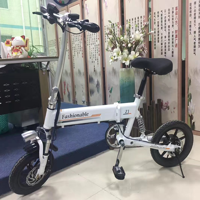 Discount 14inch folding electric bike mini lithium battery bicycle Portable adult  powered motorcycles Two-disc brakes electric bicycle 19