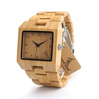 BOBO BIRD L22 Square Wood Wristwatch Mens Watches Top Luxury Brand Rectangle Design And Wooden Band