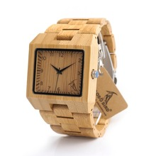 BOBO BIRD L22 Square Wood Wristwatch Mens Watches Top Luxury Brand Rectangle Design And Wooden Band Watch Fashion Montre Homm