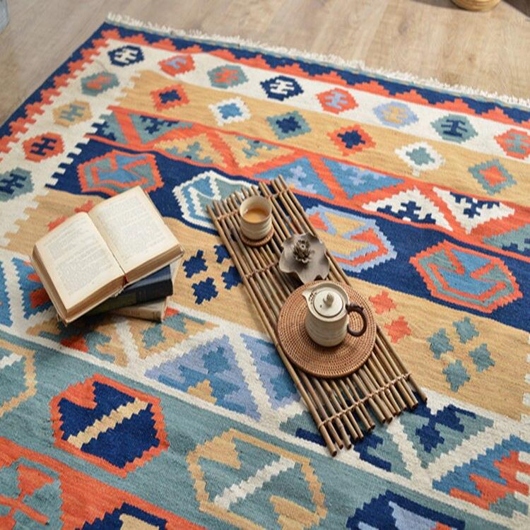 Style ethnique géométrique nordique européen fait main laine Kilim salon, chambre, Table à thé et tapis lavable à la main