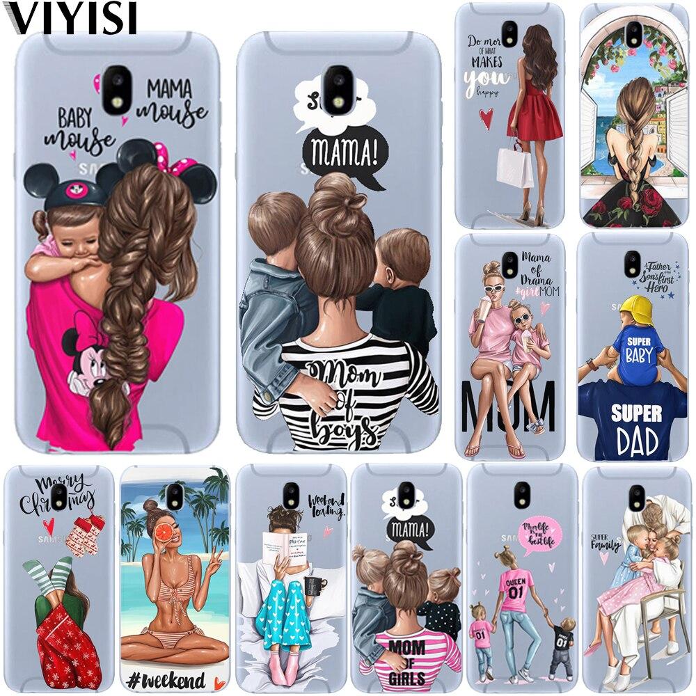 Moda de luxo preto bebê mãe menina marrom família cabelo caso telefone para samsung galaxy j3 j4 j5 j6 j7 j8 plus 2017 2018 etui coque