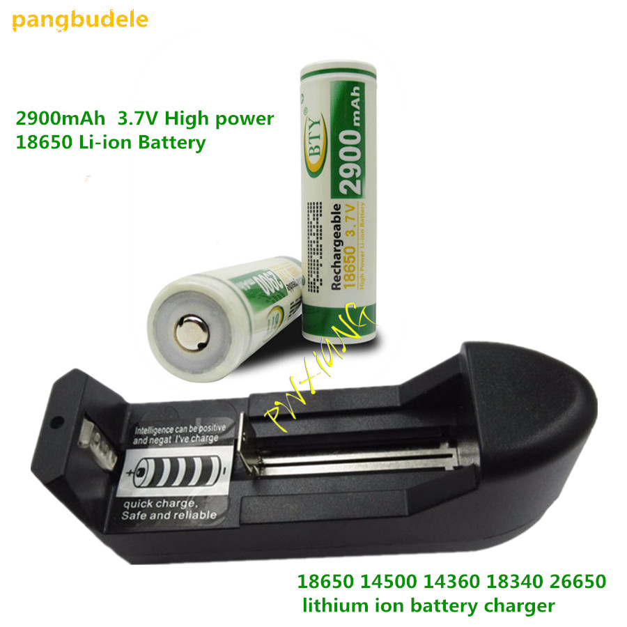 2PCS*2900mAh 3.7V High power 18650 Li-ion Battery+18650 charger, 14500 14360 18340 26650 lithium ion battery charger