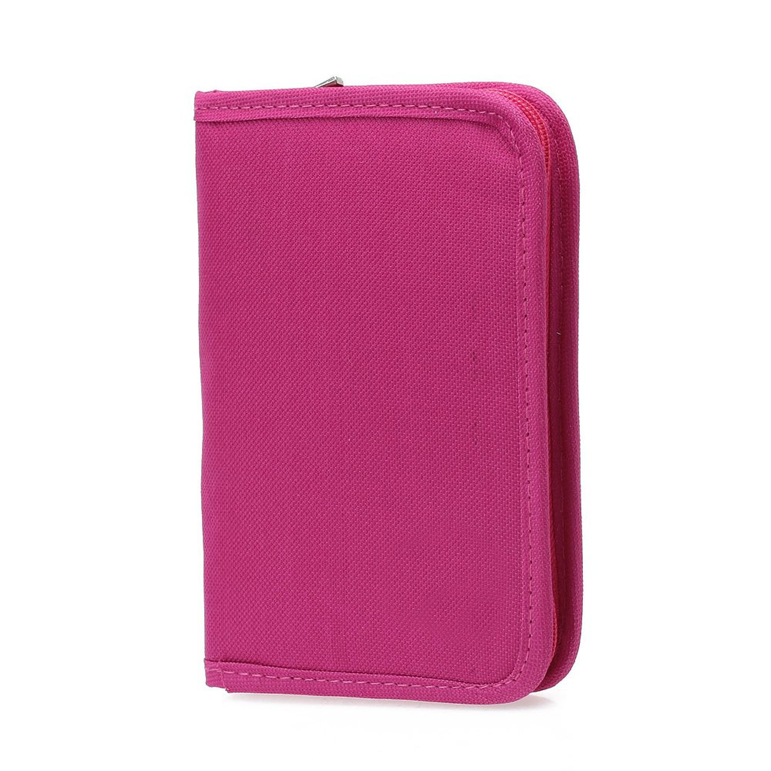 Women Multifunctional Canvas Clutch Bag Wallet Card Passport Holder Fuchsia ...