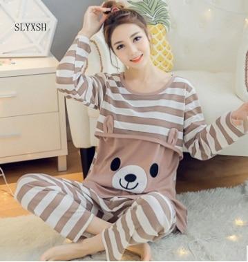 Maternity Breastfeeding Sleepwear Nursing Pajamas Set Long Sleeve Loose Clothes For Pregnant Women Cotton