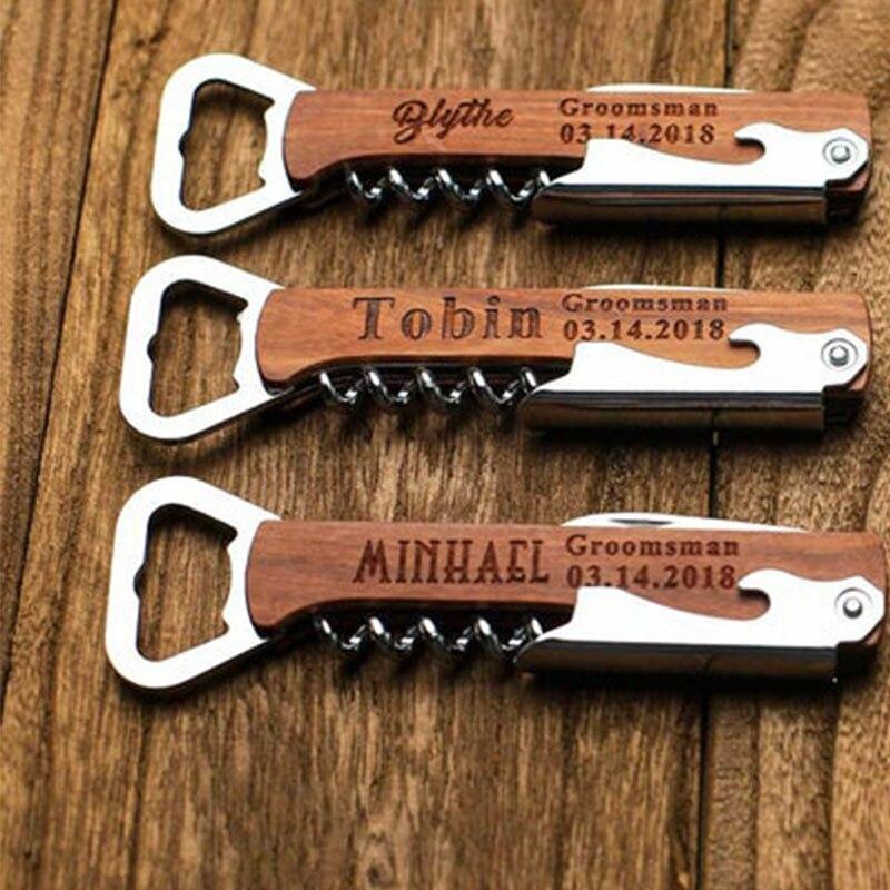 Engraved Corkscrew opener Groomsmen Gift Idea Personalized beer bar Wooden Handle Bottle Opener Wedding Gift OEM