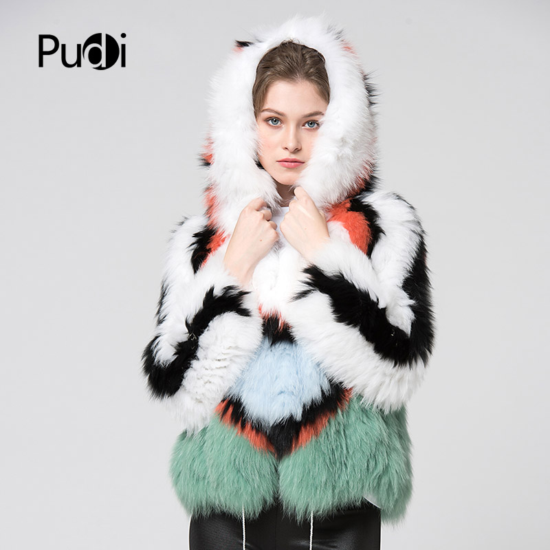 Manteau D'hiver Capuche Renard ourwear Pudi 3 Réel La à Capot 2 Chaud Manteau 1 veste Nouvelle De Ct7029 Tricoté Femmes Fourrure w6aqv6